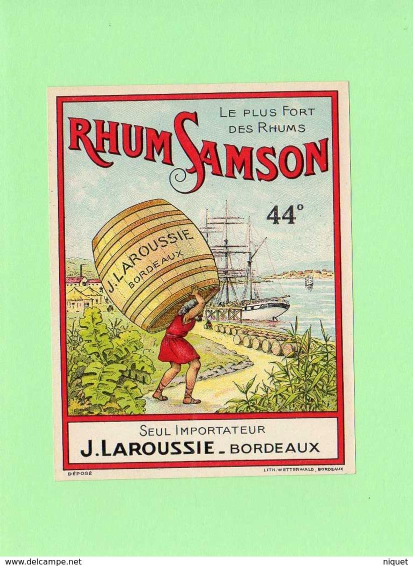 Etiquette Rhum, Rhum Samson, Le Plus Fort Des Rhum,  J. Laroussie, Bordeaux - Rhum