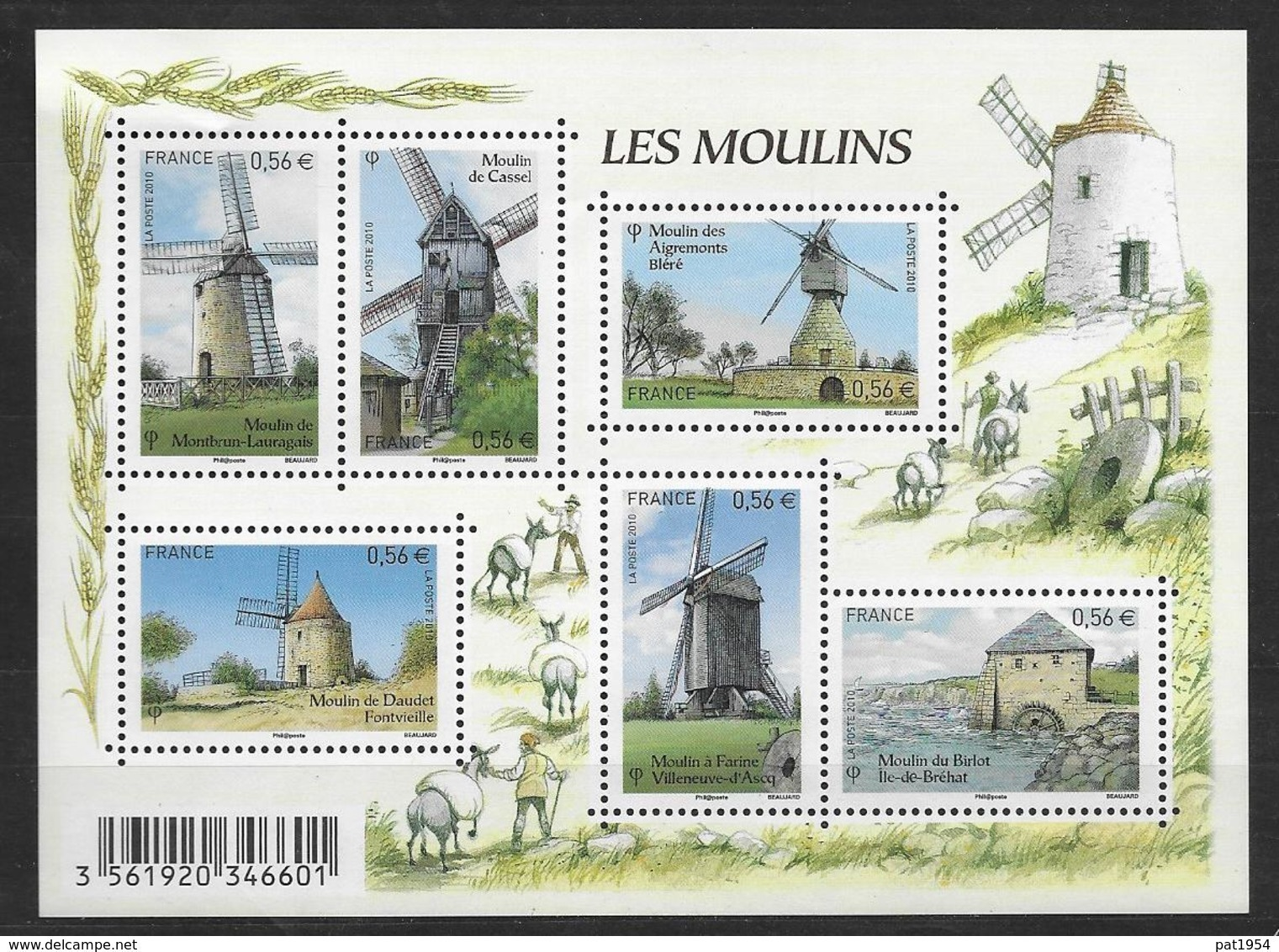 France 2010 Bloc Feuillet N° F4485 Neuf Moulins à La Faciale - Blocs & Feuillets