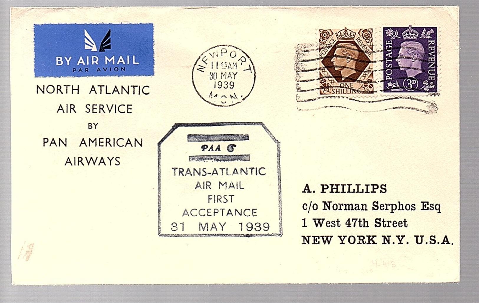 Pan American Airways 1939 Newport > New York (379) - 1902-1951 (Kings)