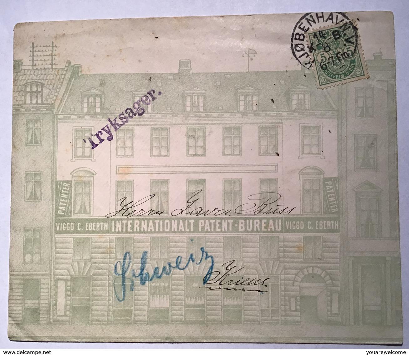 Denmark 1895 KJØBENHAVN Rare ILLUSTRATED COVER VIGGO EBERTH PATENT BUREAU >Schweiz(Danmark Brief Dänemark Lettre Brevet - 1864-04 (Christian IX)