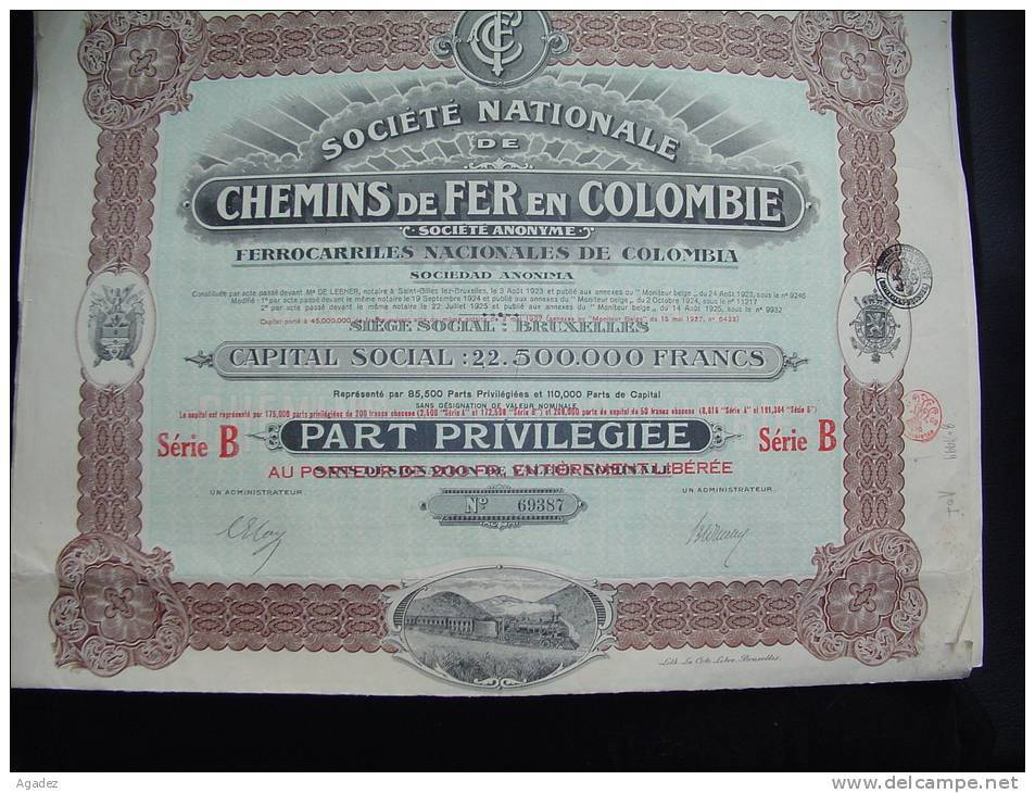 """Chemin De Fer De Colombie Ferrocarriles De Colombia Part Privilegiée 1925 Litho""""La Cote Libre Bruxelles""""Train à Vapeur - Chemin De Fer & Tramway"""