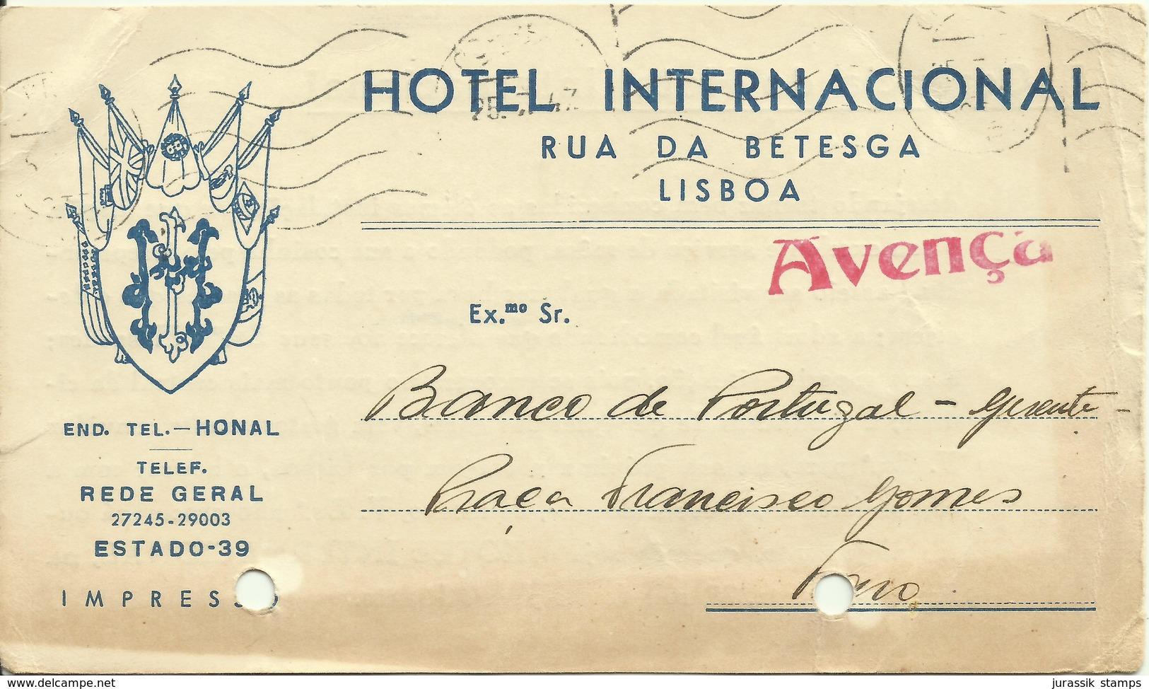 PORTUGAL - 1947  INTEIRO POSTAL PRIVADO CERES   - PRIVATE  ENTIRE POSTAL STATIONERY - HOTEL INTERNACIONAL - Postal Stationery