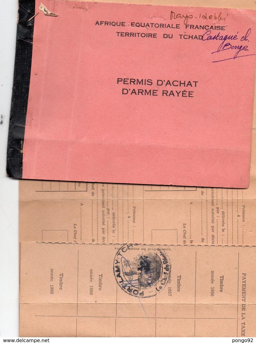 Permis De Petite Chasse AEF, Fort Lamy 1958 (lut.bleu) - Sports