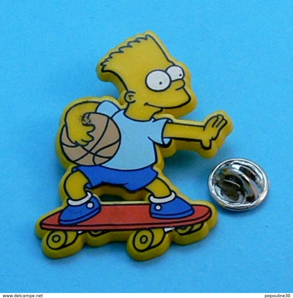 PIN'S //  ** BART SIMSONS / EN SKATE ** . (™ & ©1991 20th C Fox F.C.) - Skateboard