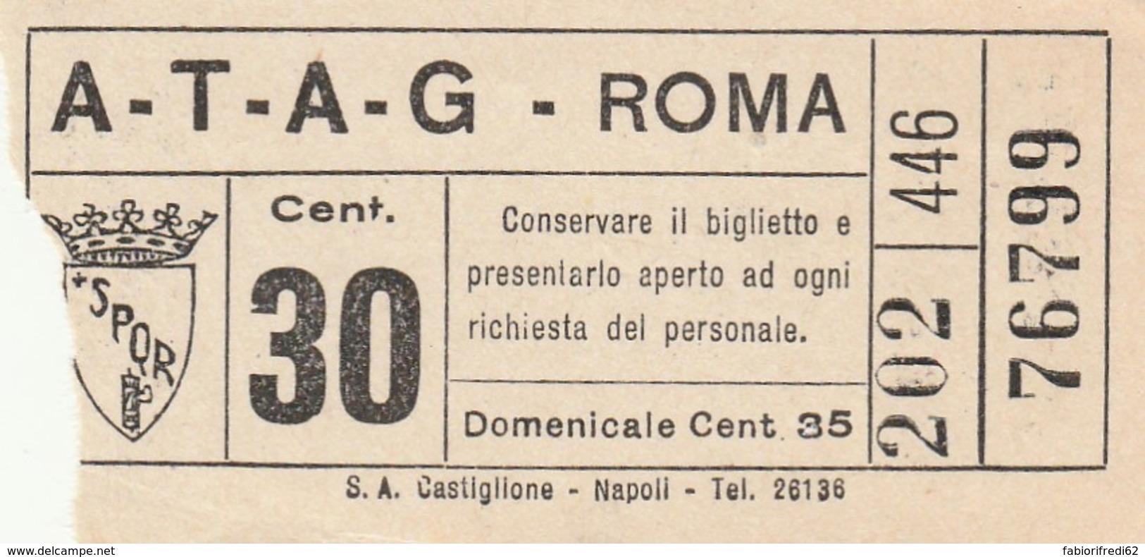 BIGLIETTO BUS TRAM ATAG ROMA (BX145 - Bus