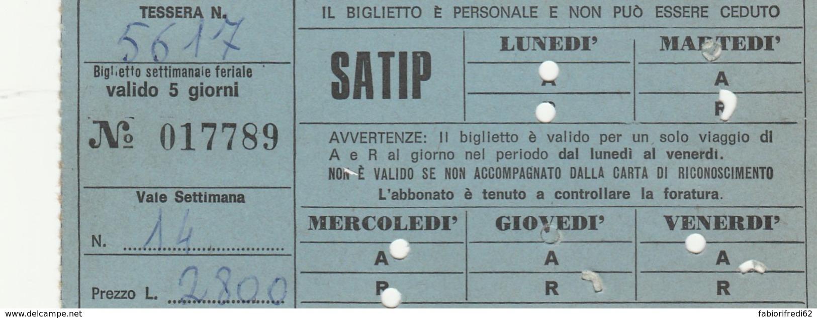 ABBONAMENTO SETTIMANALE SATIP (BX171 - Season Ticket
