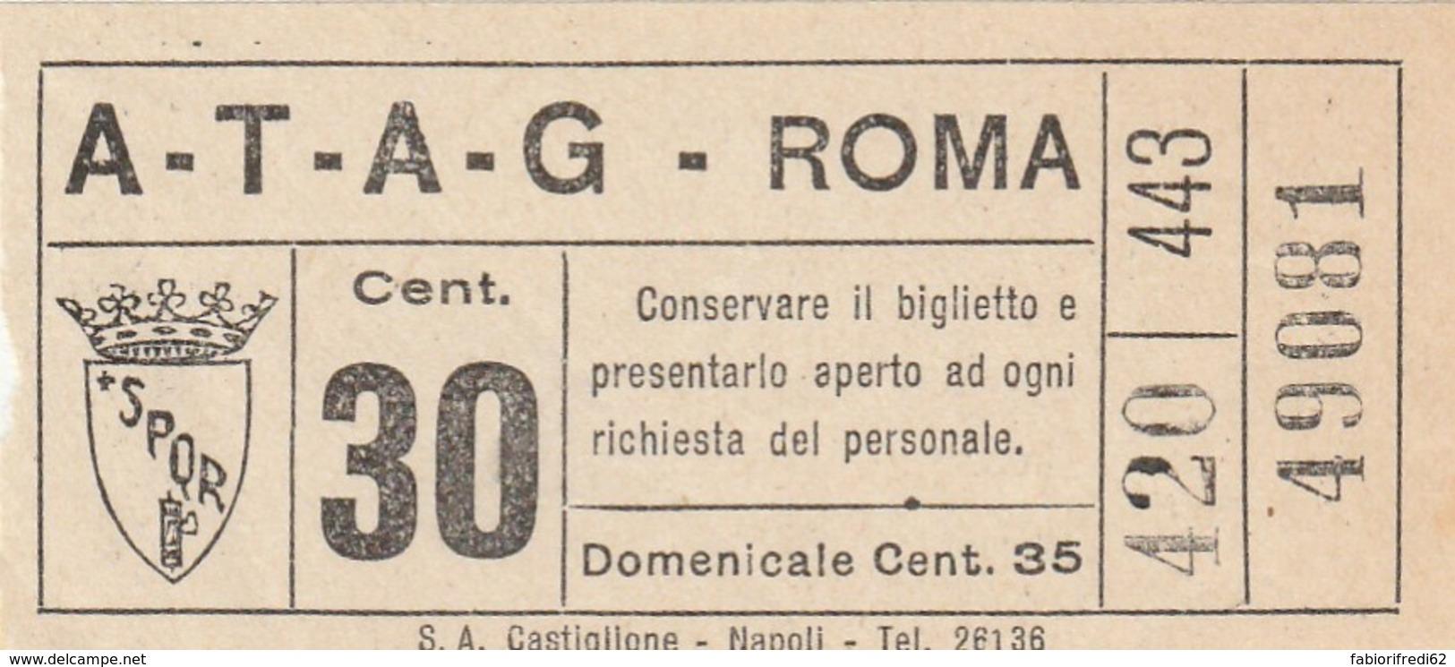 BIGLIETTO BUS TRAM ATAG ROMA (BX458 - Europa