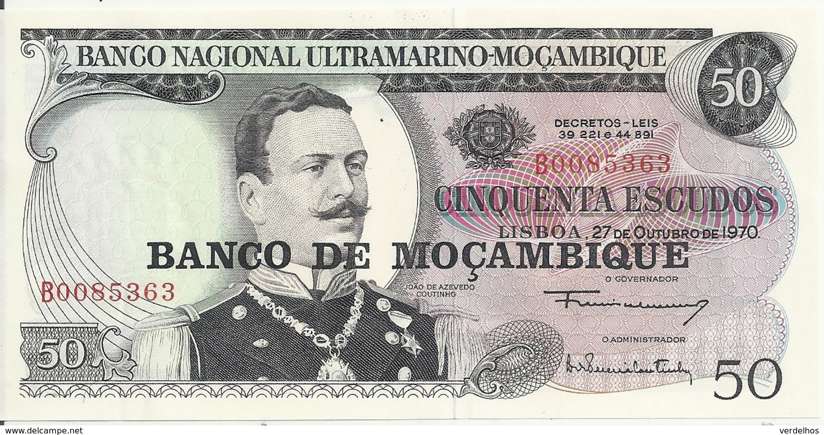 MOZAMBIQUE 50 ESCUDOS 1970 UNC P 116 - Mozambique