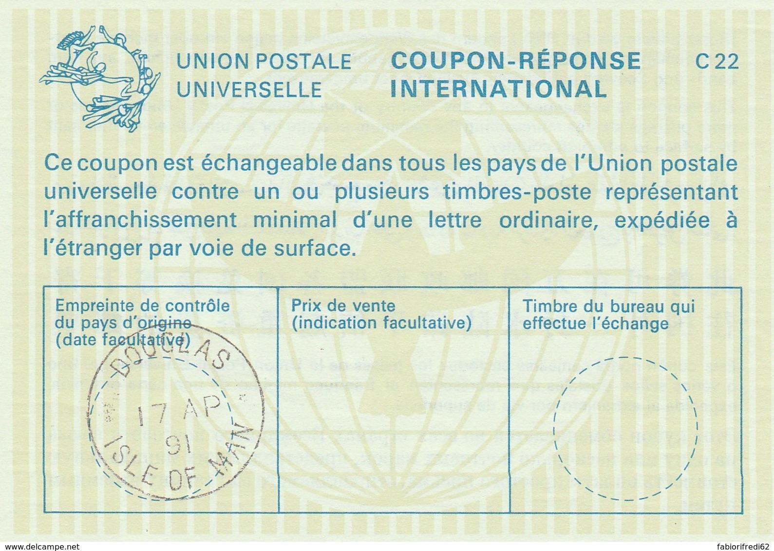 COUPON-REPONSE INTERNATIONAL 1991 DOUGLAS ISLE OF MAN (LY486 - Isola Di Man