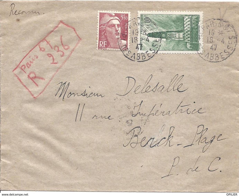 Gandon 3.50F N° 716B + Beffroi D'Arras N° 567 RECOMMANDE PROVISOIRE PARIS 67 Rue Des Abbesses 18 4 1947 - Lettres & Documents