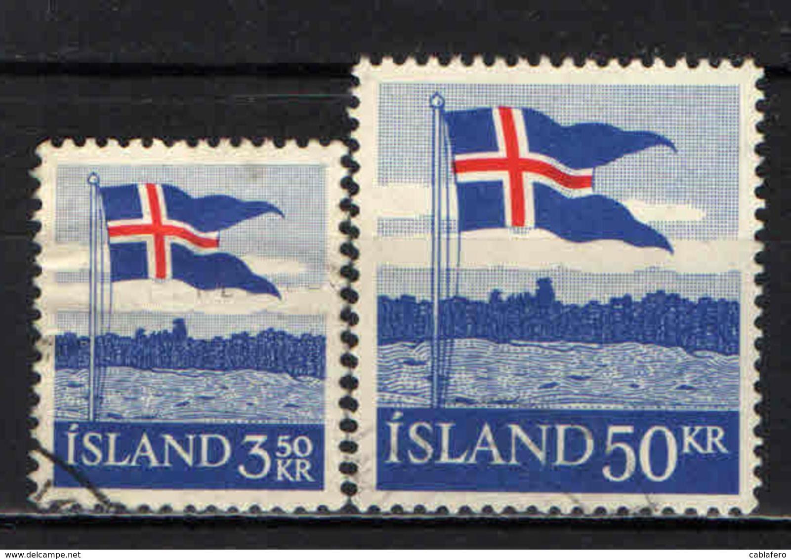ISLANDA - 1958 - 40° ANNIVERSARIO DELLA BANDIERA ISLANDESE - USATI - 1944-... Repubblica