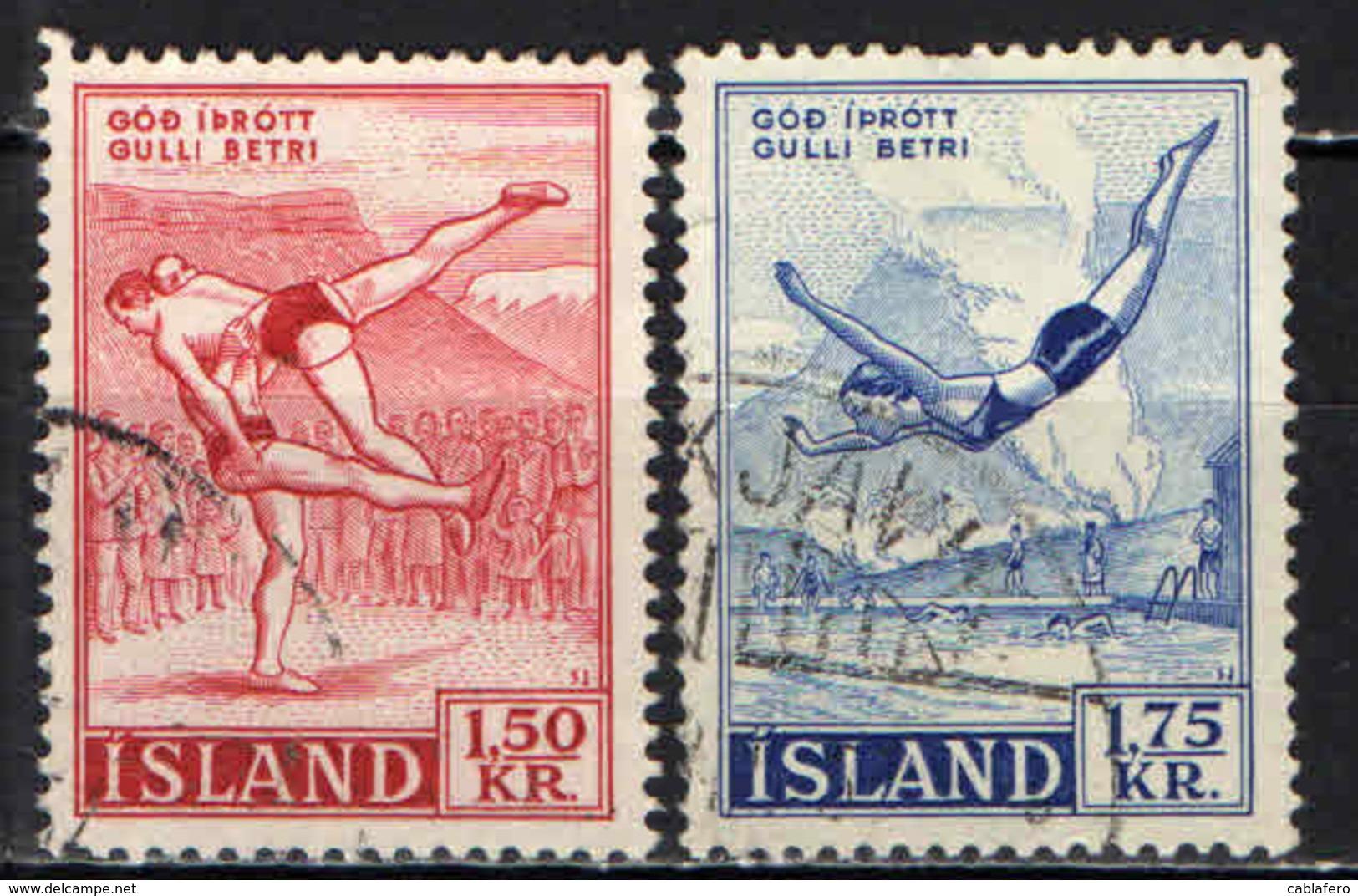 ISLANDA - 1957 - SPORT: LOTTA E TUFFI - USATI - Usati