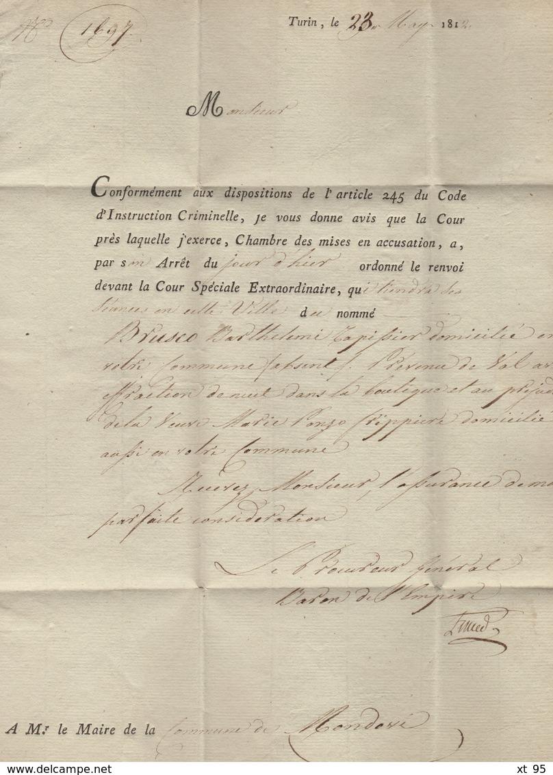 Turin - 104 - 1812 - Le Procureur General De La Cour Imperiale De Turin - Franchise - Departement Conquis Du Pô - ...-1850 Préphilatélie