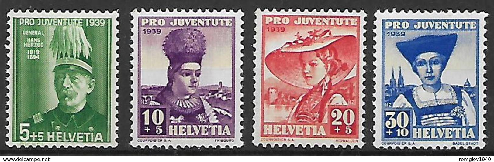 SVIZZERA  1938 PRO JUVENTUDE UNIF. 316-319 MNH XF - Svizzera