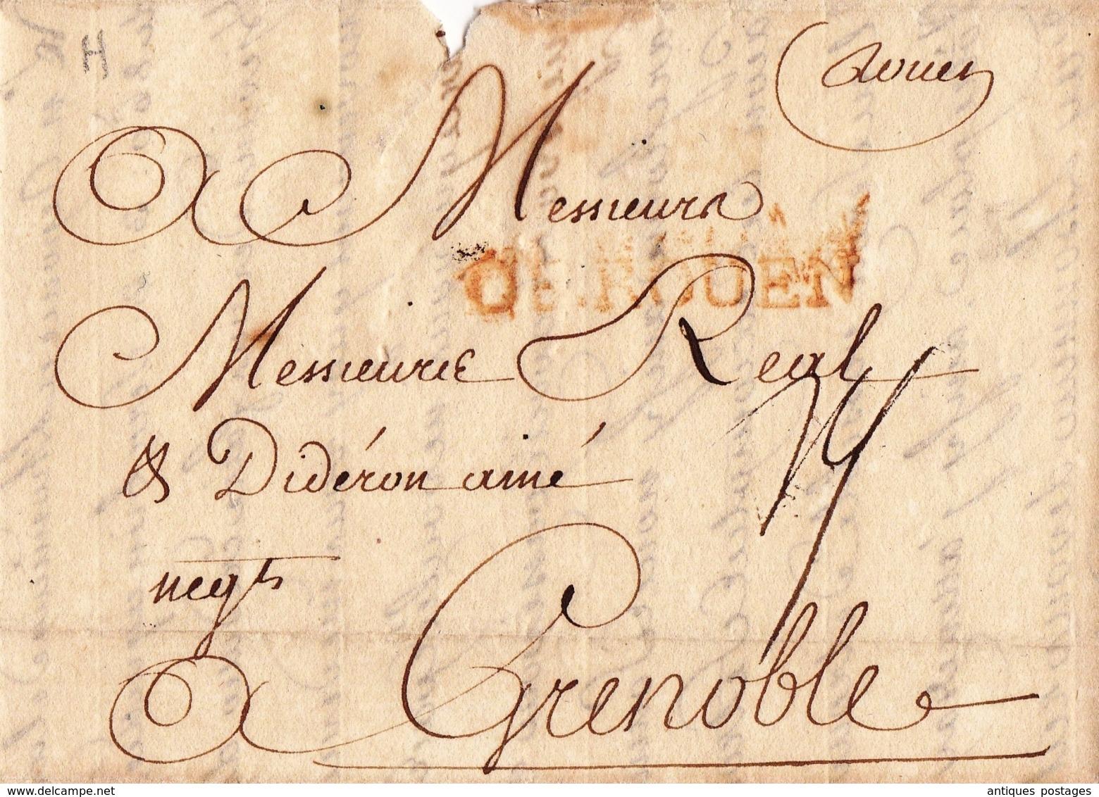 Lettre Rouen 1751 Seine Maritime Normandie Marque Rouge DE ROUEN Pour Grenoble Dauphiné Isère - Marcophilie (Lettres)