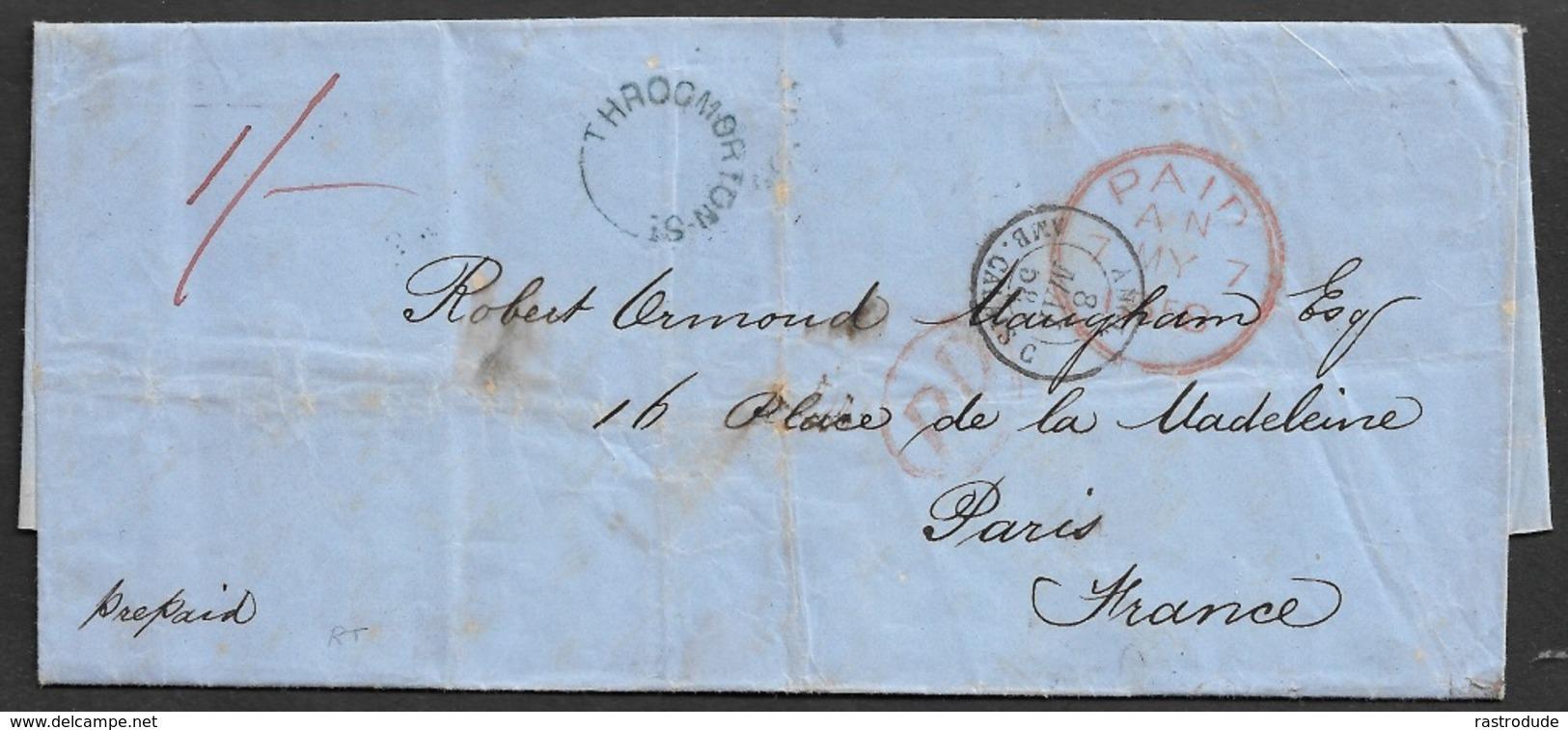 1858 ENTIRE - LONDON THROGMORTON ST.to PARIS Over CALAIS - PREPAID - Postmark Collection