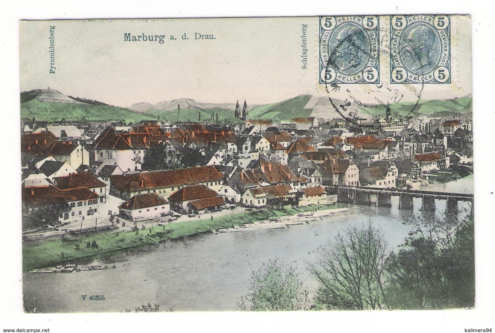 SLOVENIE  /  MARBURG - A. - DRAU  ( MARIBOR ) /  PYRAMIDENBERG  +  SCHLAPFENBERG  ( Vue Générale Colorisée ) - Slovénie