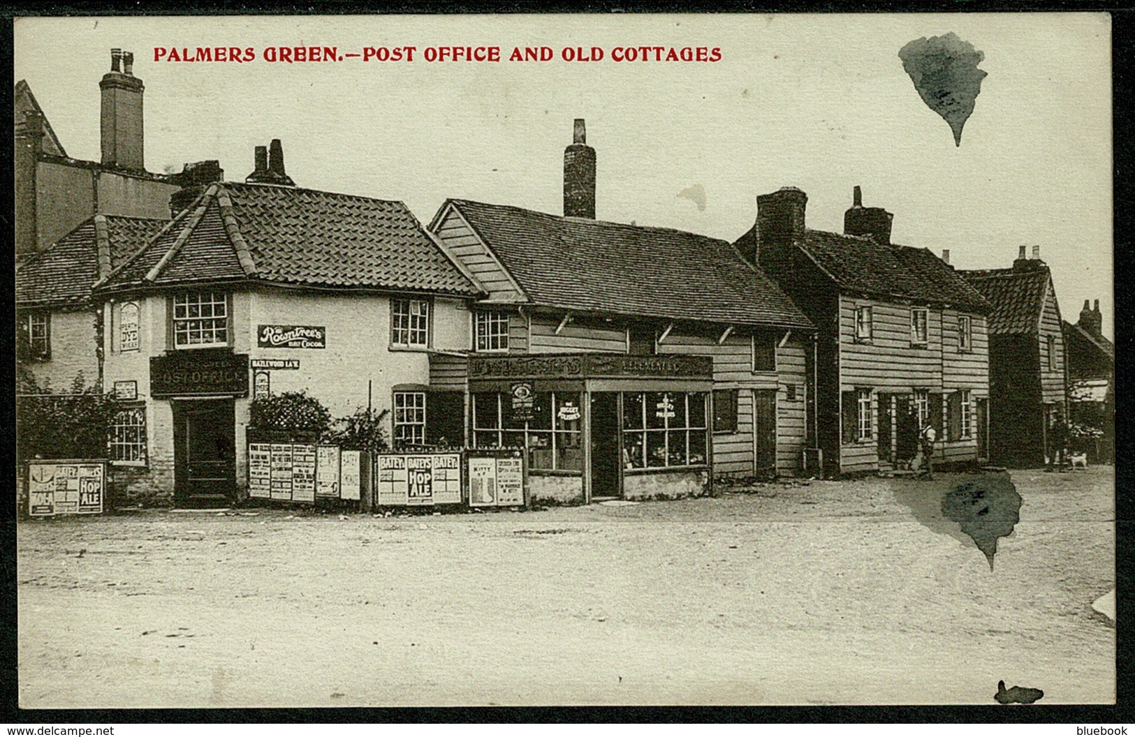 Ref 1248 - 1905 Postcard - Post Office & Old Cottages - Palmers Green London - London Suburbs
