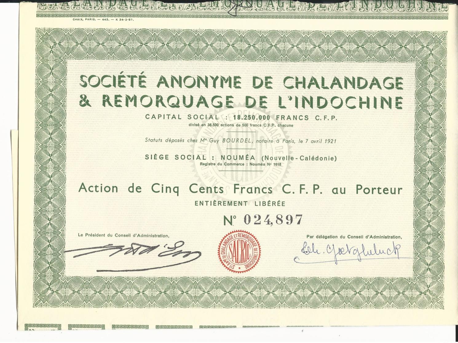 ACTION Sté De CHALANDAGE & REMORQUAGE De L'INDOCHINE - NOUMEA En NOUVELLE CALEDONIE - Azië
