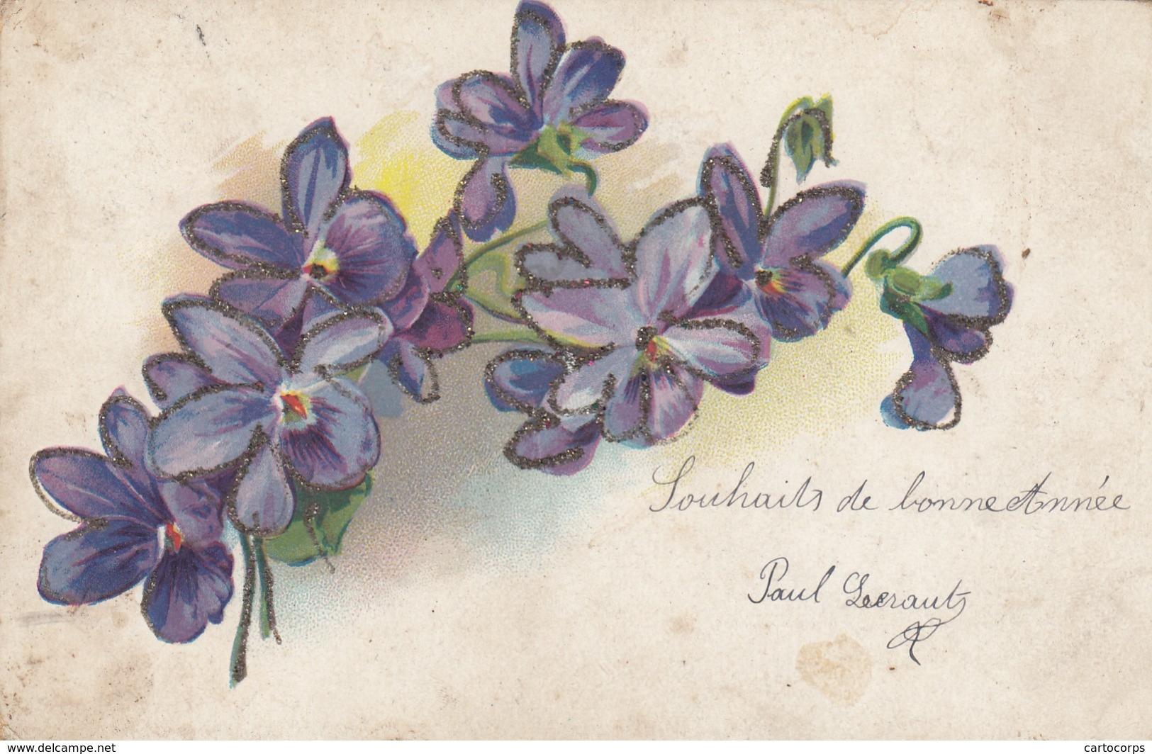 Thèmes - Carte Fantaisie -Lot De 2 Cartes - Bonne Année - 2 Jeunes Chatons Jouent Aux Quilles - Bouquet De Violettes - Animaux Habillés