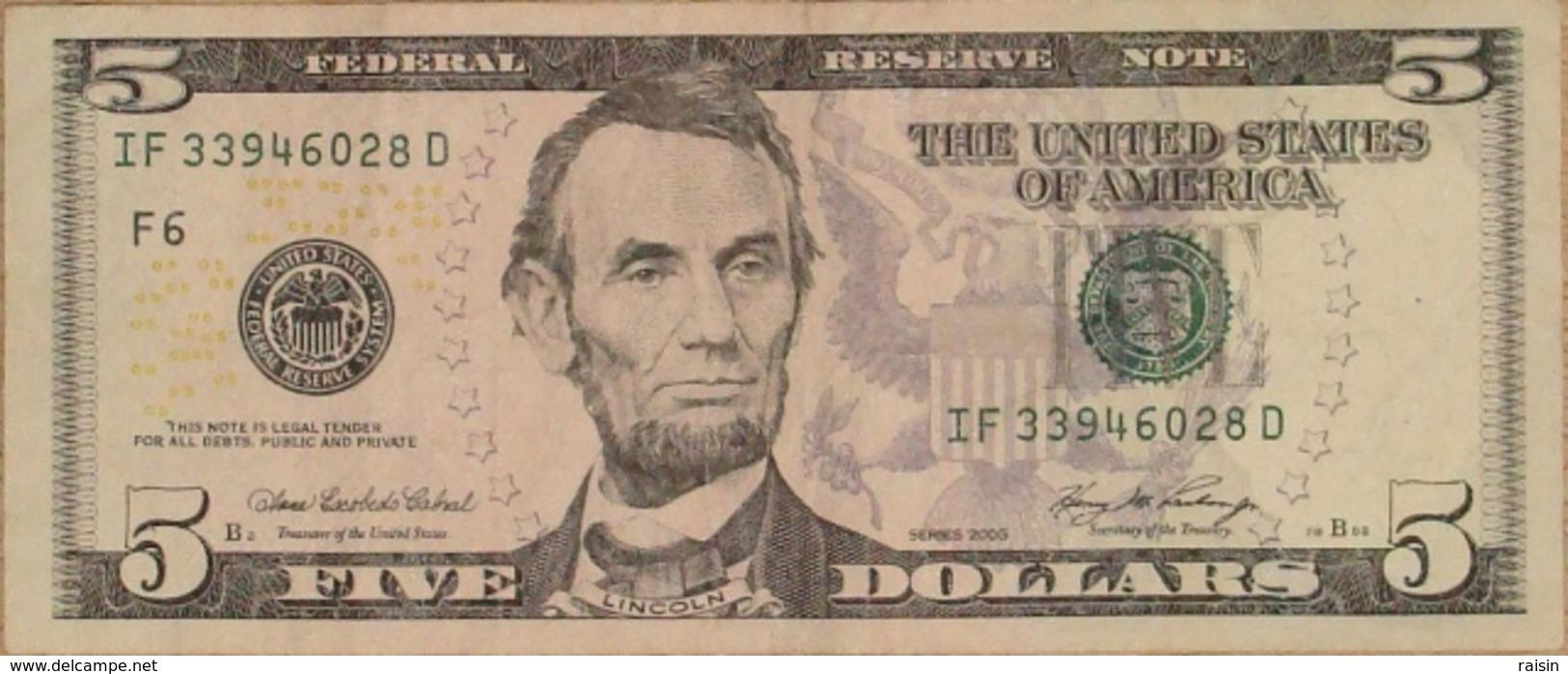 Billet 5 Dollars US état D'usage - Canada