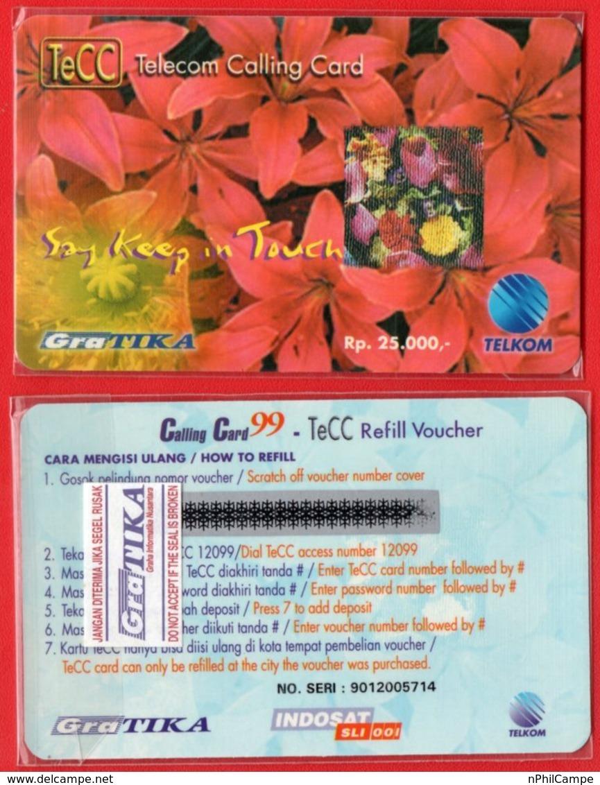 Indonesia Telkom TeCC Telkom Calling Card Say Keep In Touch Mint - Flowers