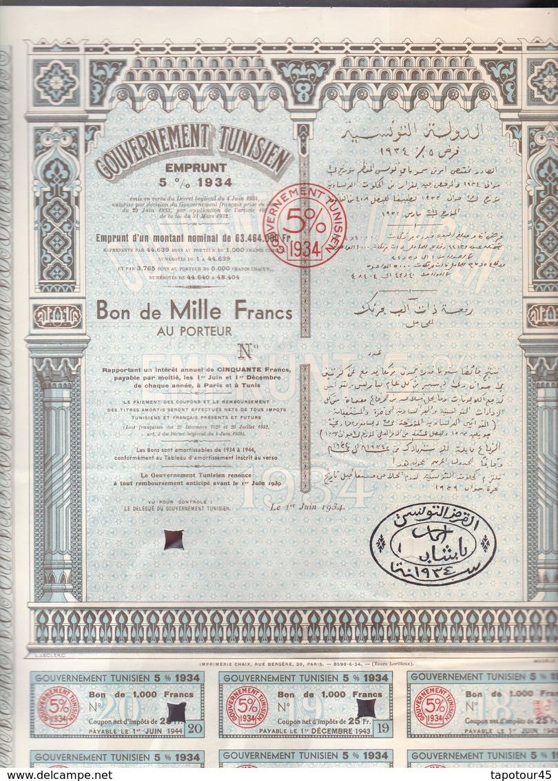 Th4  GOUVERNEMENT : TUNISIEN - Bon De 1000 Frs1934N° 29 - Aandelen