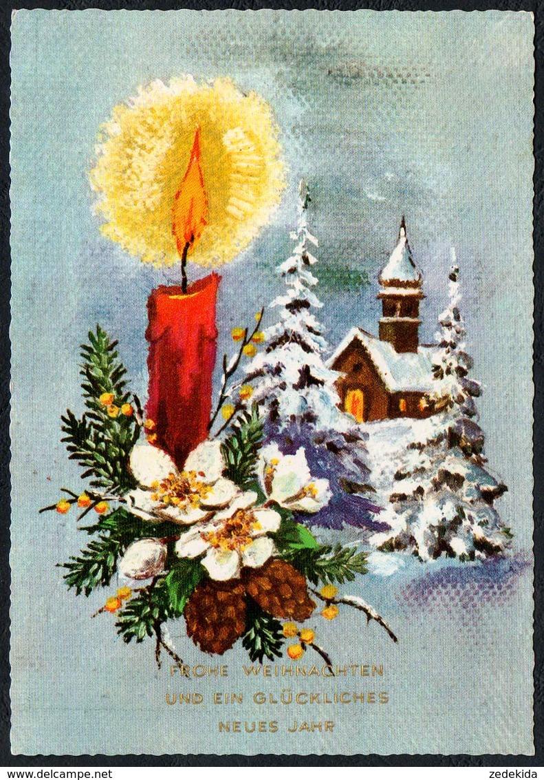 C0807 - TOP Glückwunschkarte Weihnachten - Kerze Winterlandschaft - Krüger - Non Classificati