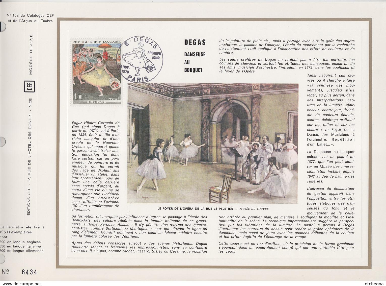 = Danseuse Au Bouquet Par Degas Paris 14.11.70 N°1653 Encart Perforé 1er Jour - Covers & Documents