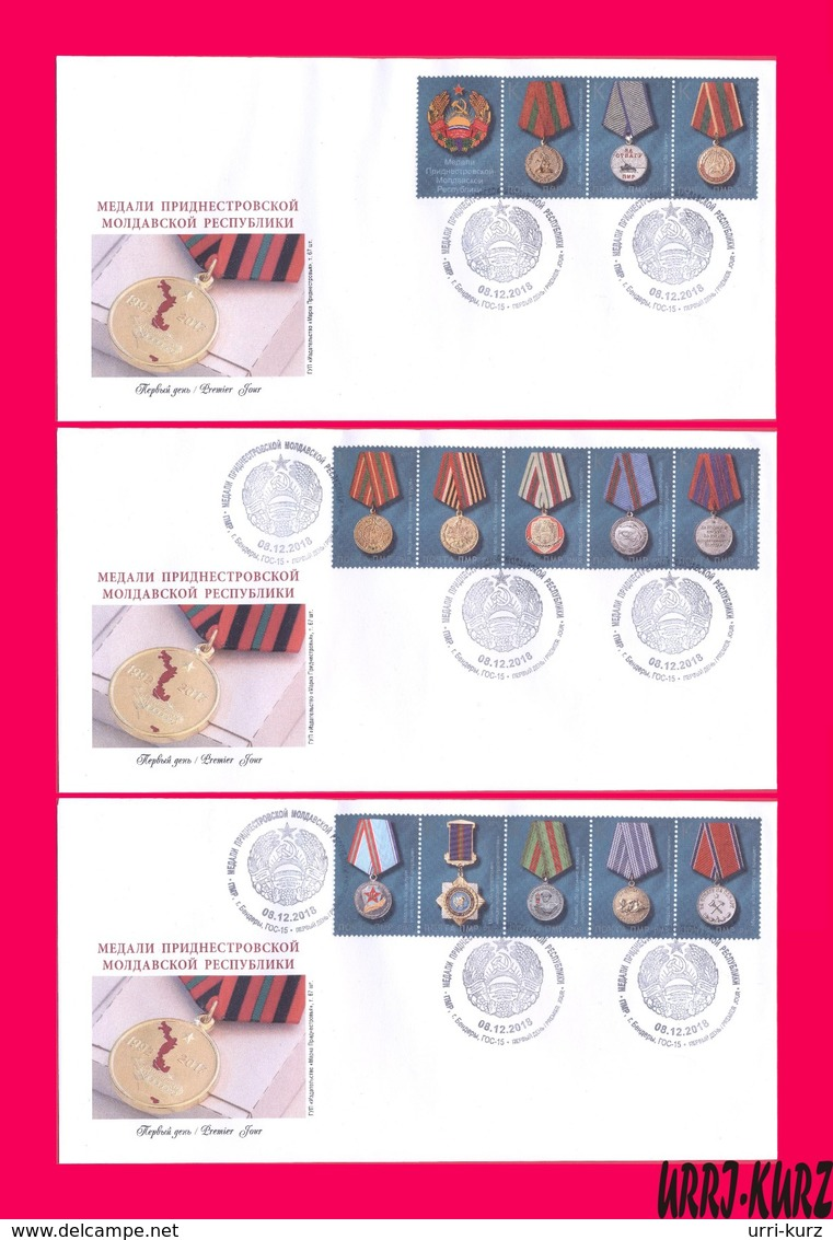 TRANSNISTRIA 2018 State Awards Orders And Medals Of PMR 3 FDC - Moldova