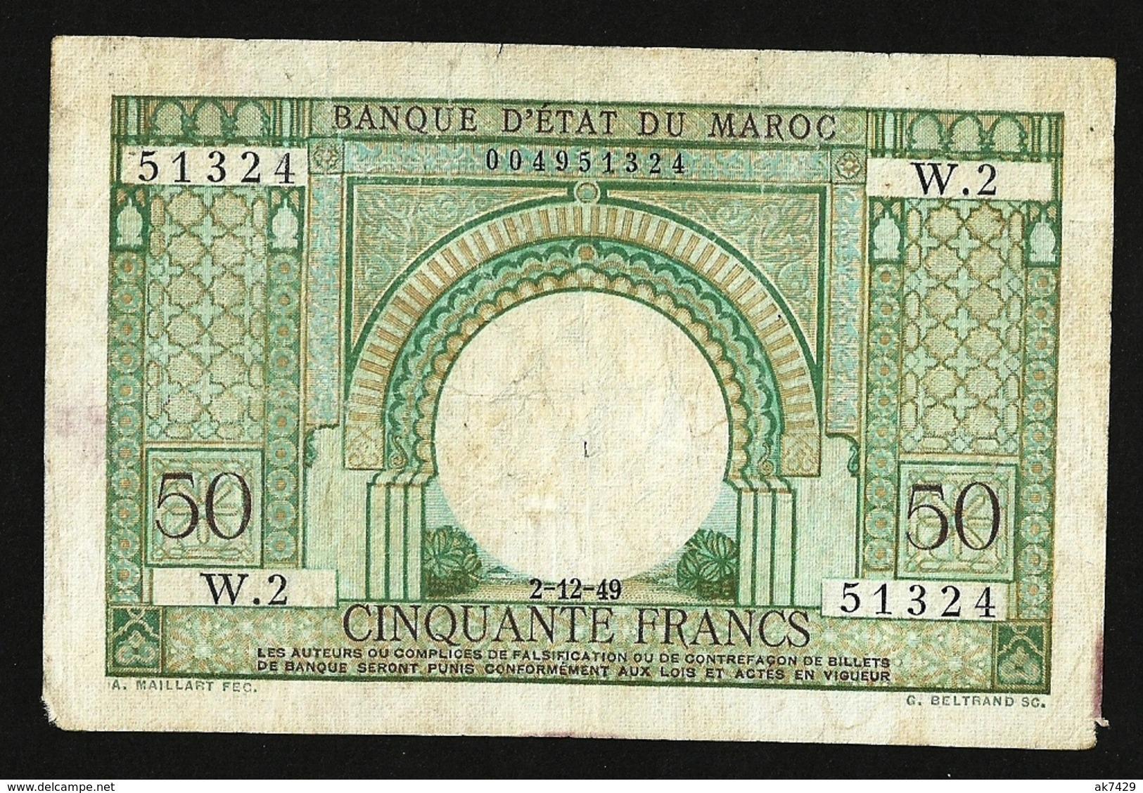 MOROCCO MAROKKO BANQUE D'ETAT MAROC 50 FRANCS  1949 FINE+ P#44 - Maroc