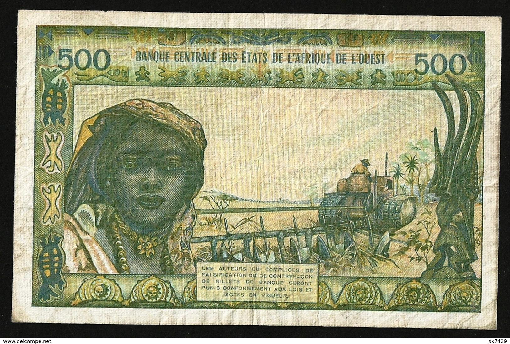 WEST AFRICAN STATES 500 Francs ND (1964) P#102Af AVF IVORY COAST - États D'Afrique De L'Ouest