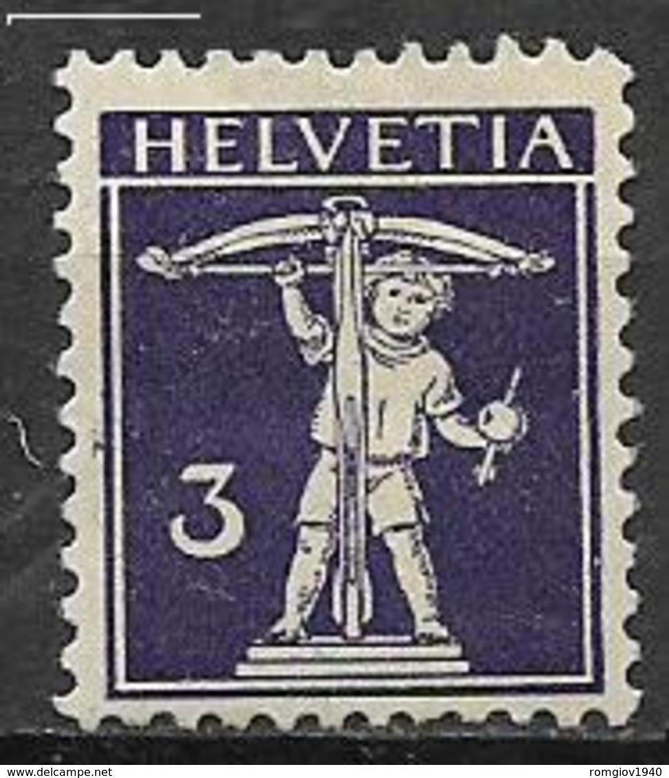 SVIZZERA  1909 WALTER TELL UNIF. 135  MLH VF - Svizzera