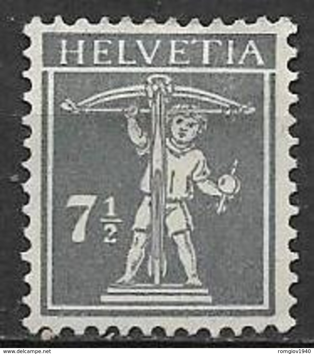 SVIZZERA  1916-22 WALTER TELL  UNIF. 160 MNH VF SENZA GOMMA - Svizzera