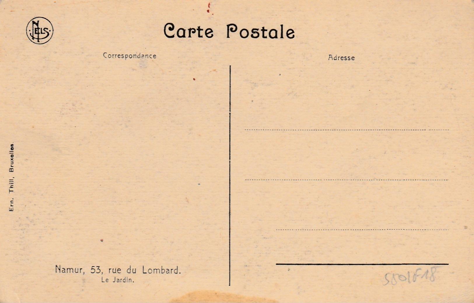 Namur , Le Chateau , Le Jardin ,53 ,rue Du Lombard - Namur