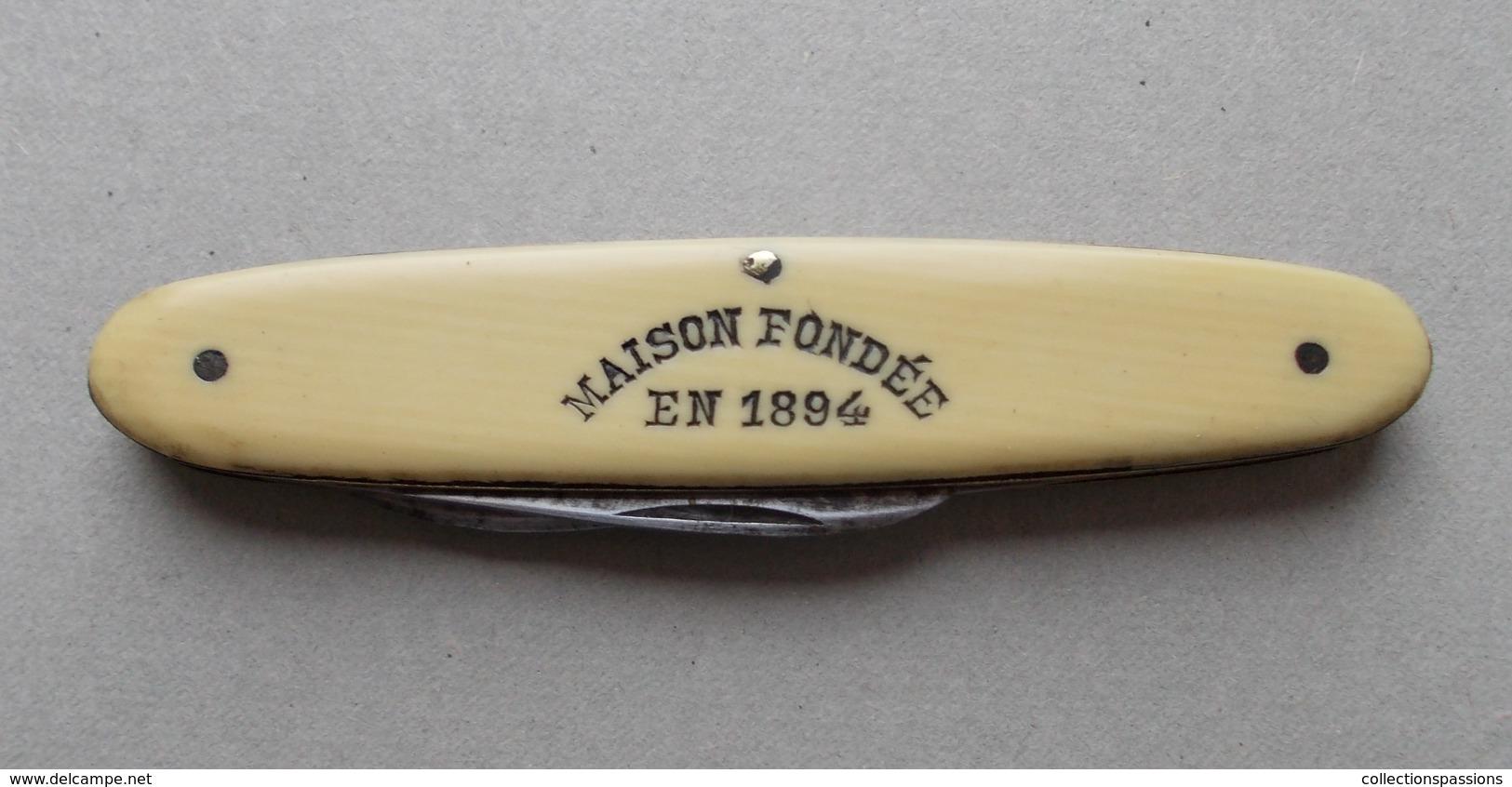 - Couteau. Canif - Ancien Petit Couteau Publicitaire CHAMPAGNE Eugène Cliquot. Reims - - Knives