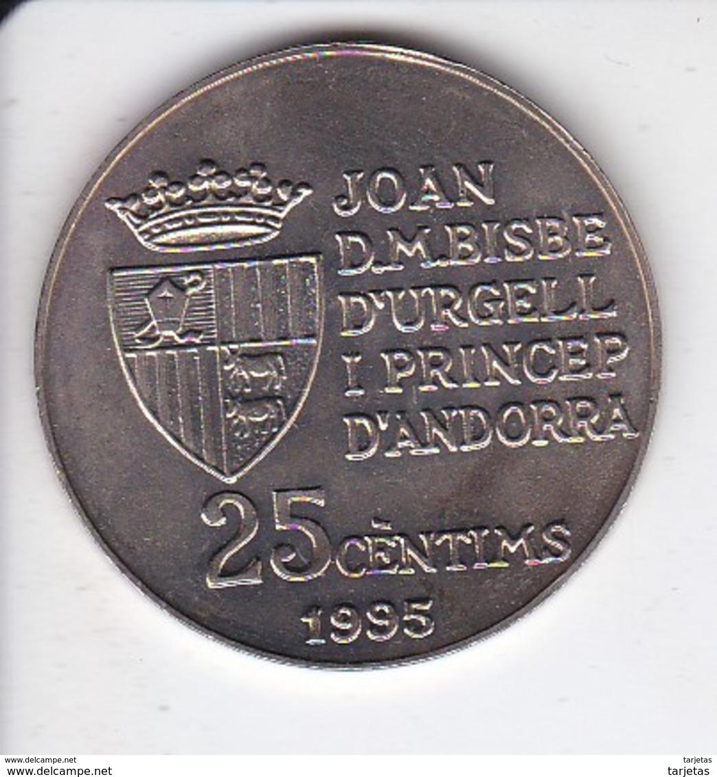 MONEDA DE ANDORRA DE 25 CENTIMS DEL AÑO 1995 DE LA FAO - Andorra