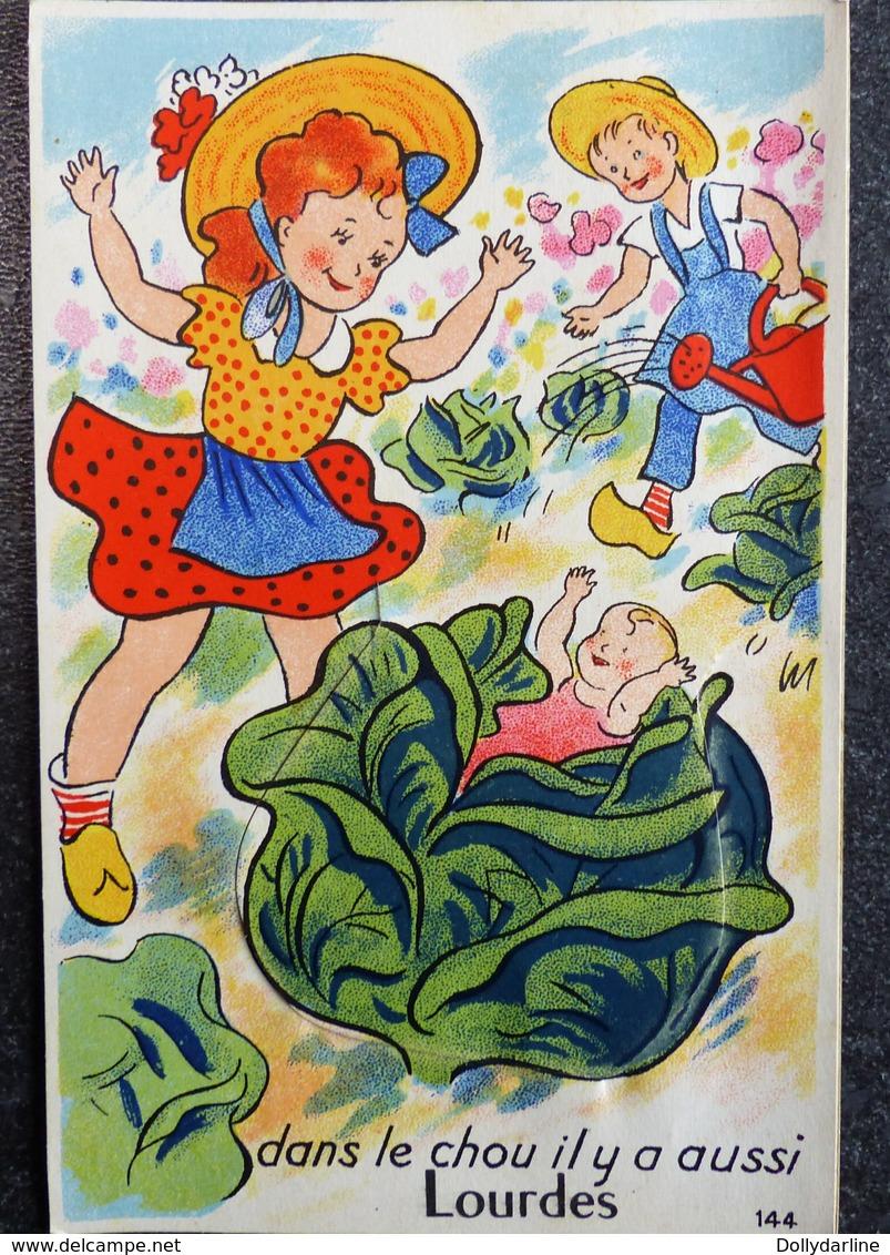 """Carte Humour à Système 65 Hautes Pyrennées """"Dans Le Chou Il Y A Aussi Lourdes"""" Jardinier Arrosoir - Souvenir De..."""