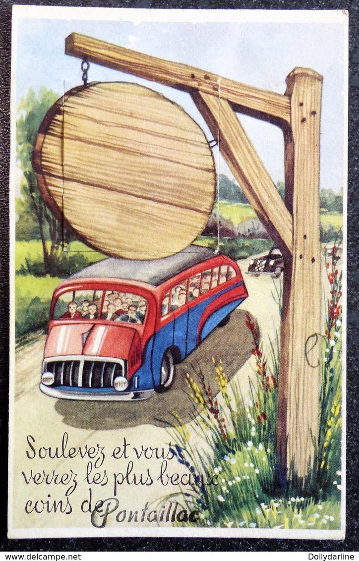 """Carte Humour à Système 17 """"Soulevez Et Vous Verrez Les Plus Beaux Coins De PONTAILLAC """" Autocar Car Charente Maritime - Móviles (animadas)"""