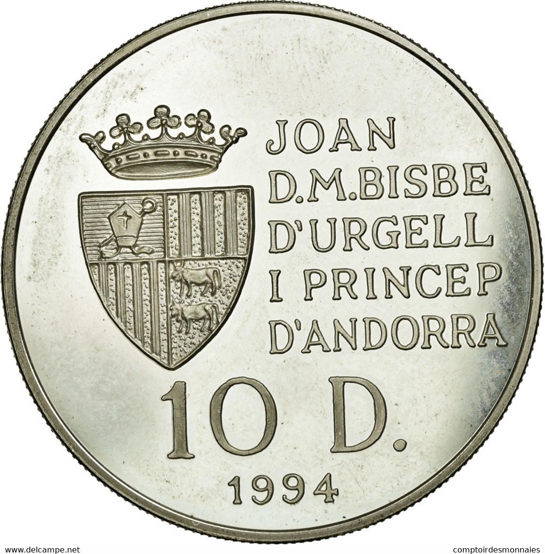 Monnaie, Andorra, 10 Diners, 1994, TTB+, Argent, KM:95 - Andorre