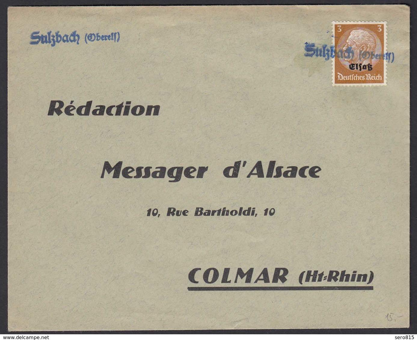 Behelfstempel Sulzbach (Oberelsaß) Auf 3 Pfennig Elsaß Mi. 1  (22177 - Besetzungen