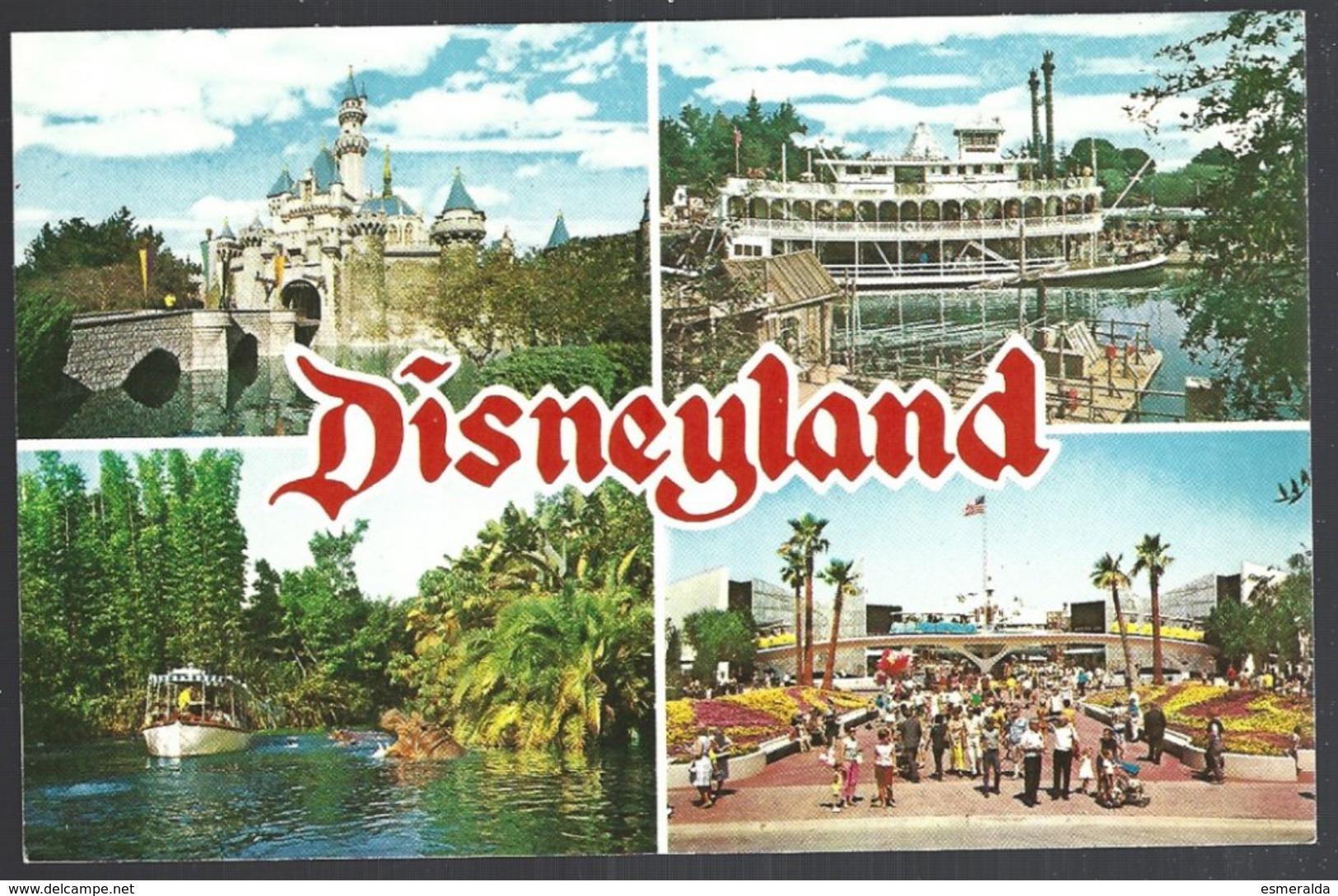 CP Disneyland, Sleeping Beauty Castle-Mark Twain Steamboat-Jungle Cruise-Tomorrowland - Disneyland