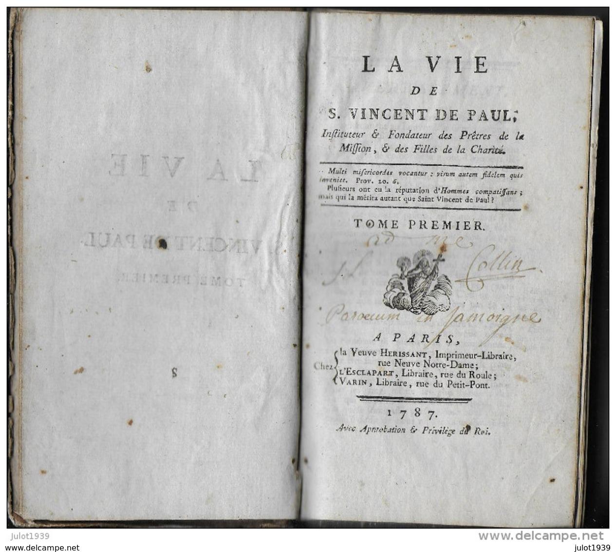 JAMOIGNE ..-- LA VIE DE SAINT VINCENT DE PAUL ..-- 1787 . Tome 1er . Bon état Général . - Chiny
