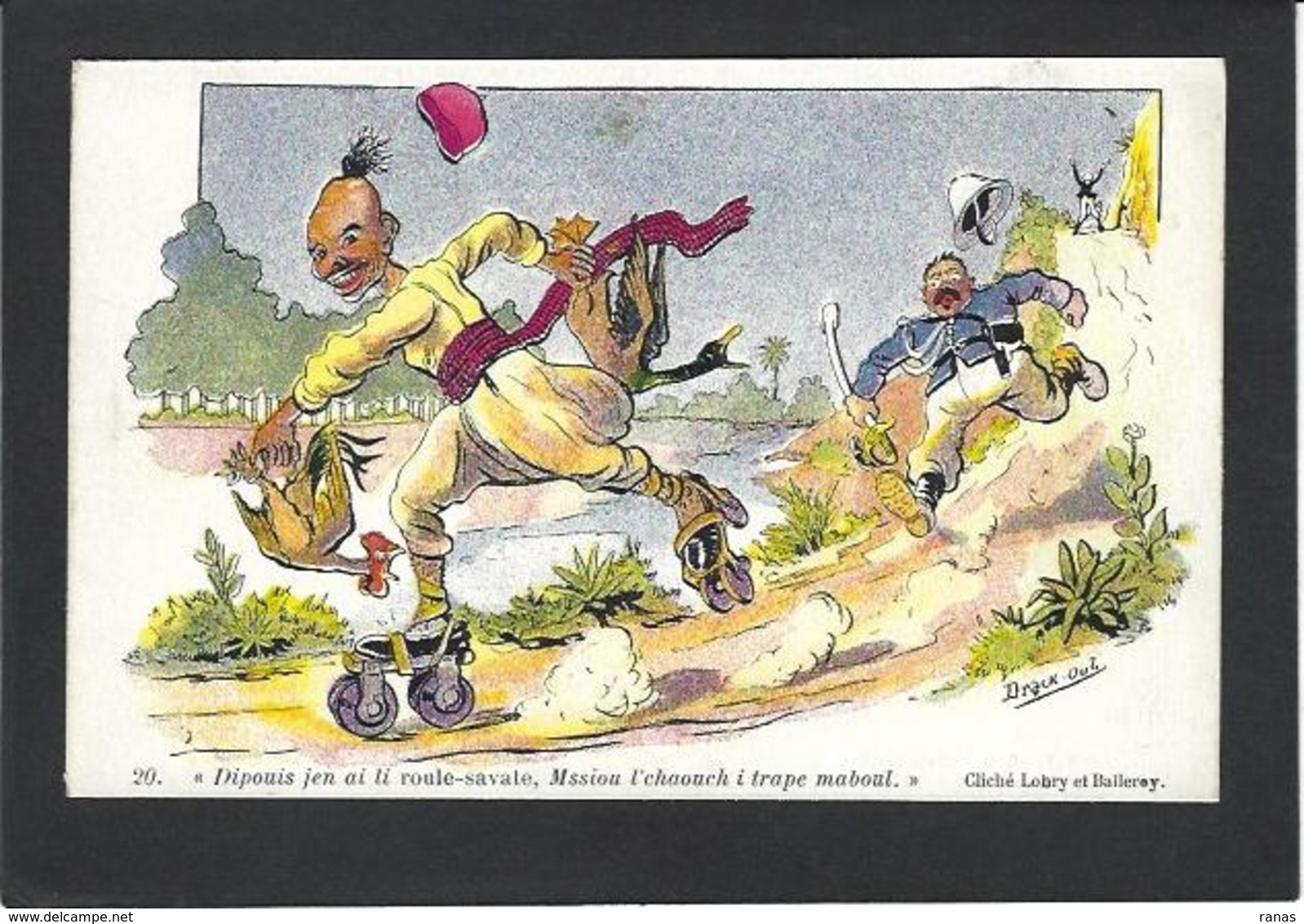 CPA Drack Oub Type CHAGNY Illustrateur Arabe Algerie écrite Patin à Roulettes Skating Roller - Künstlerkarten