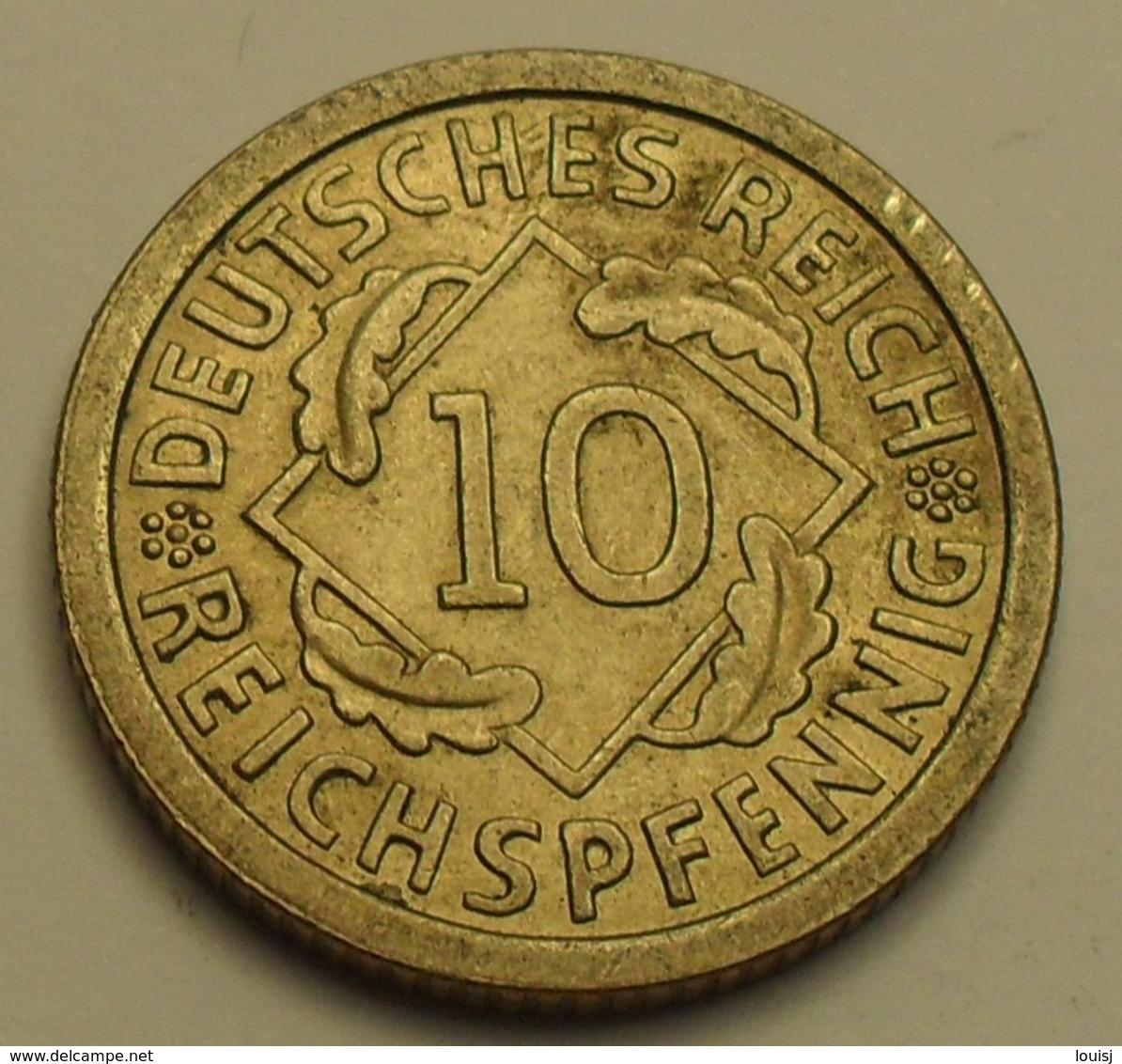 1924 - Allemagne - Germany - Weimar Republic - 10 REICHPFENNIG, (F), KM 40 - 10 Rentenpfennig & 10 Reichspfennig