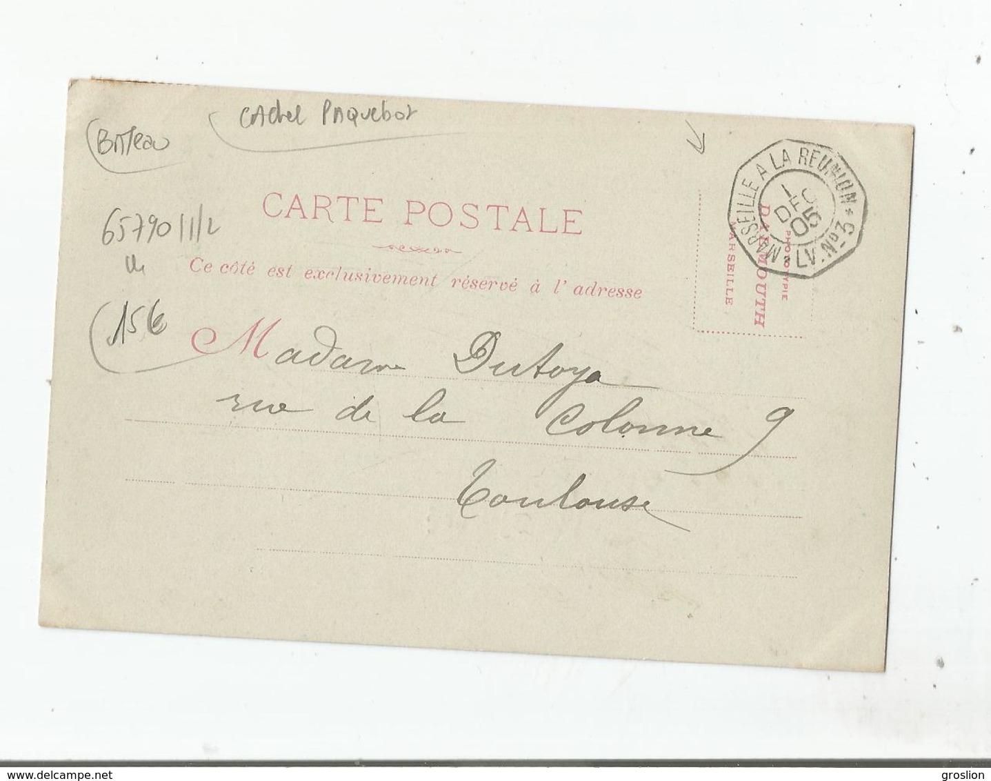 """MESSAGERIES MARITIMES LE """"DJEMNAH"""" 1905 (CACHET PAQUEBOT LIGNE MARSEILLE A LA REUNION L V N° 3.( 1 DEC.05) - Piroscafi"""