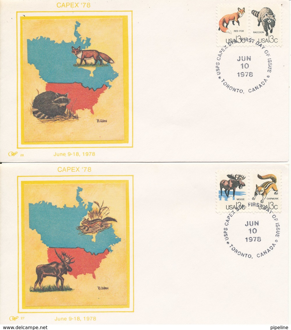 USA FDC 10-6-1978 Capex Canadian International Philatelic Exhibition Complete Set Of 4 On 4 Covers With SILK Cachet - Premiers Jours (FDC)