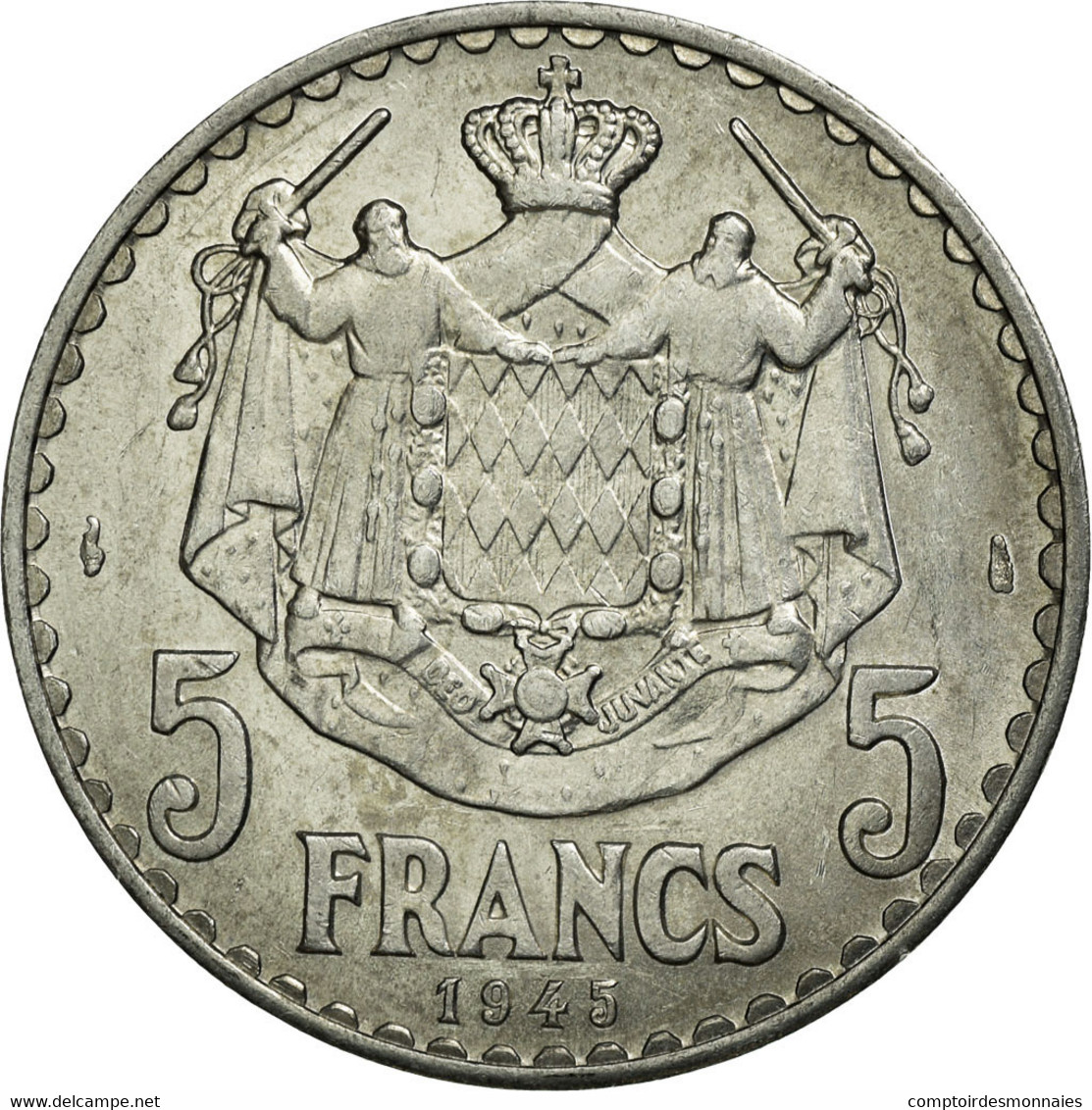 Monnaie, Monaco, Louis II, 5 Francs, 1945, Poissy, SPL, Aluminium - Monaco