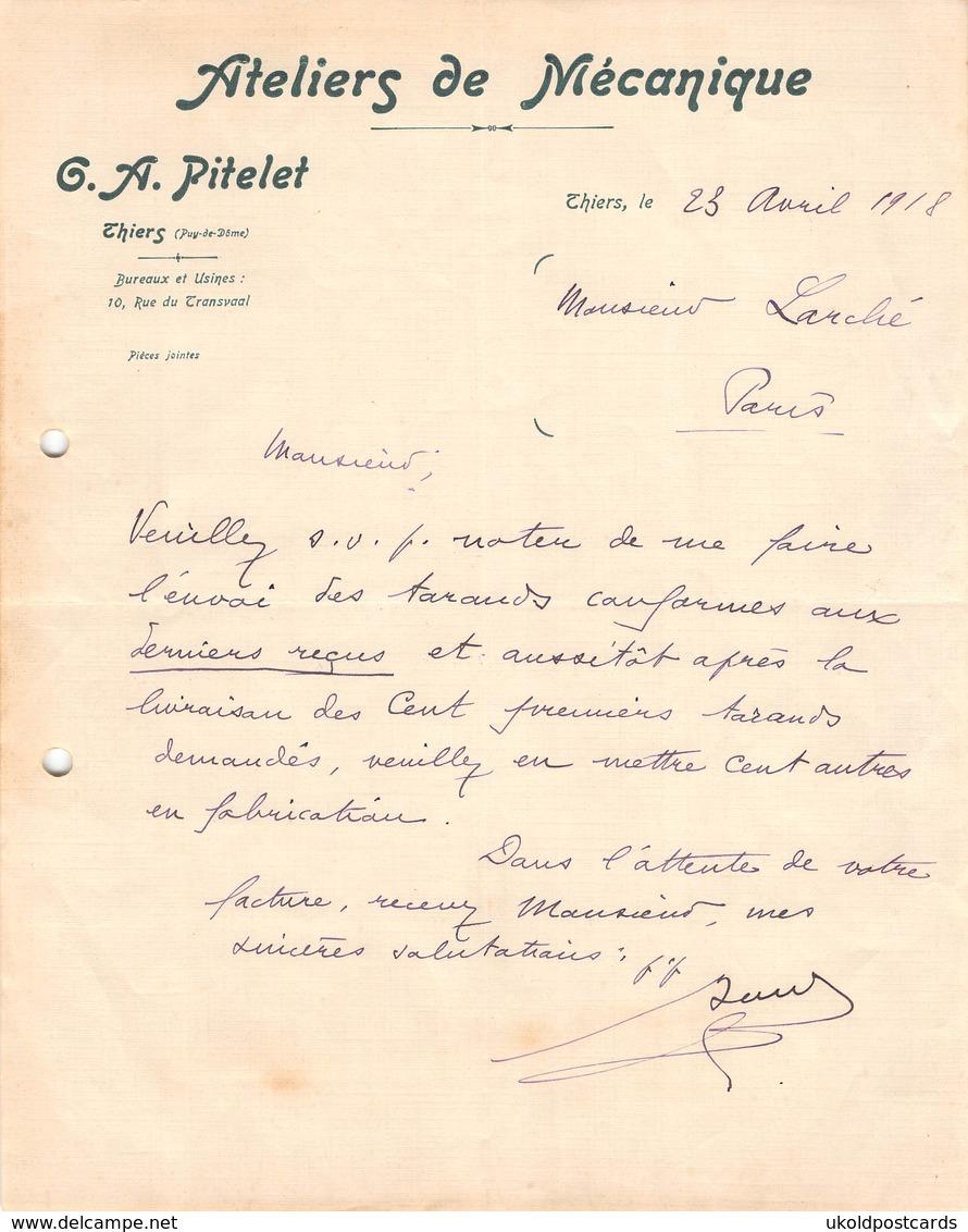 Facture Ancienne -  THIERS ( 63 Puy De Dome ), Ateliers De Mecanique - G.A. Pitelet, 1918 - Francia