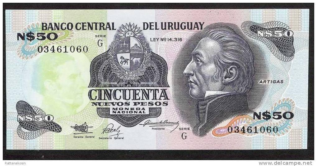 URUGUAY   P61A   50    NUEVOS PESOS  1989  Serie G    UNC. - Uruguay